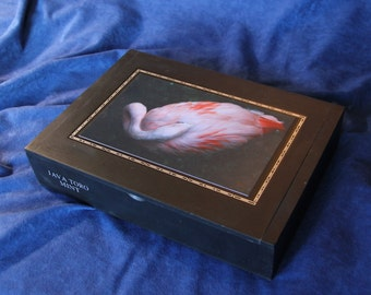Wooden Keepsake Box, Storage Box, Re-purposed Cigar Box, Decopauge Photo, Flamingo  (Box No. 133)