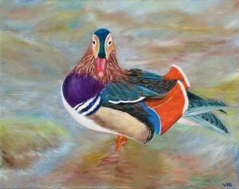 Mandarin Duck, Waterfowl, Fine Art, Nature, Asian, Japan, Giclee Print, Bird