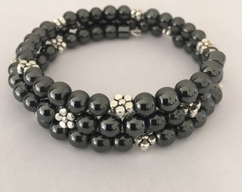 Hematite and Silver Bead Memory Wire Bracelet