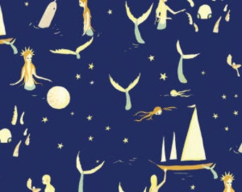 Mermaids in Night - Organic Quilt Cotton - Saltwater by Emily Winfield Martin for Birch Fabrics