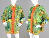 Vintage 90s GIANNI VERSACE Couture Versace Silk Shirt Rare Tarzan Print Italian Designer Shirt Oversized Blouse Jungle Print Made in Italy