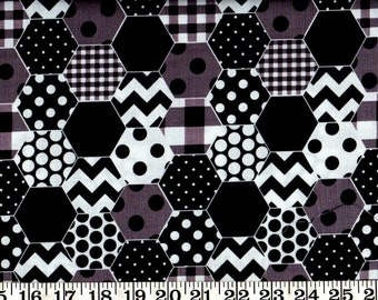SALE!  Riley Blake Cotton Fabric Hexi Black By the Yard #560-4