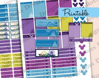 Disneyland  printable planner stickers / trip / vacation / California Adventure