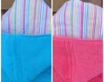 Girl striped hooded towel - your choice of towel color, toddler hooded towel, girl striped beach towel,personalized kids bath towel