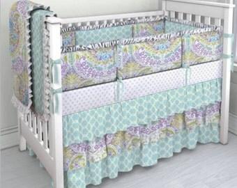Lilac and Aqua paisley crib bedding set