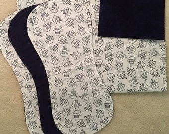 Sailboat baby boy blanket gift set, Blue blanket and burp cloth set, Flannel baby gift set