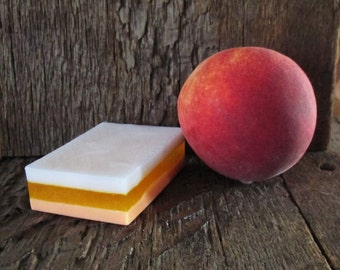 Peach Mango Shea Butter and Vegetable Glycerin Layered Soap Bar 4 oz.