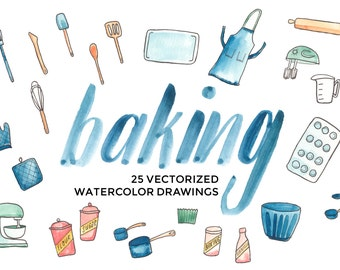 Cooking and Baking Supplies and Tools - Hand-painted watercolor digital clip art PNG & vector