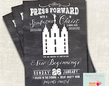 LDS Young Woman New Beginnings--Press Forward Invitation