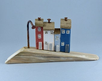 Driftwood slope and little colourful houses with rusty nails # 325