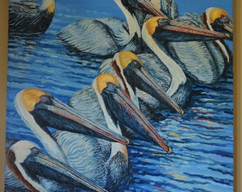 Large Oil Painting ~ Pelican Feeding Frenzy