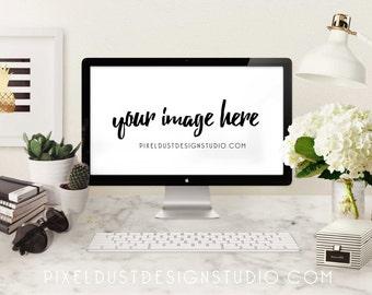 Black & Gold Modern / Mac Computer Desktop Mockup / Styled Scene / Commercial Use