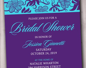 bridal shower invitation printable purple turquoise flowers or pick any color combination flowers peacock invitattion - Purple And Turquoise Wedding Invitations