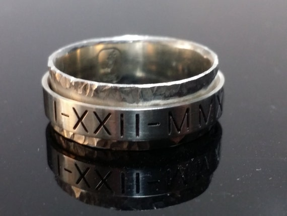 Spinner ring. Sterling silver ring with 1 custom engraved spinners. Completely customized, personalized, and unique.