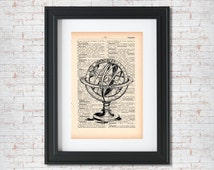Armillary Sphere, Vintage illustration, Old drawing, Celestial Sphere, book page print, dictionary art print, wall decor poster #005