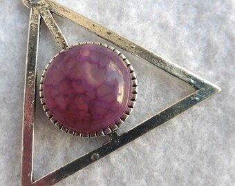 Burgundy AGATE Providence Necklace - Esoteric, All-seeing Eye, Geometric, Pyramid, Triangle, Crystal, Divination, Mystic, Pagan, Wicca
