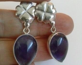 Amethyst Drop Earrings handmade with sterling silver and purple gemstone  stud , chandelier , handcrafted jewelry