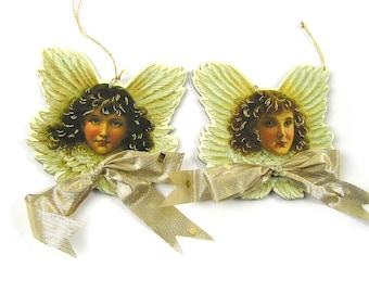 Vintage 1980s Victorian Angels Christmas Ornaments Scrap Ornaments
