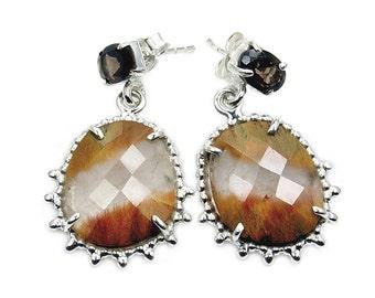 Smoky Quartz, Rutilated Quartz & Sterling Silver Dangle Earrings AB172