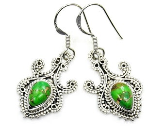 Lime Green Mohave Turquoise Earrings Jewelry & Sterling Silver Dangle Earrings ; AB136