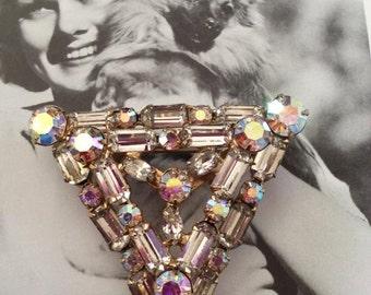 Vintage 1950s 1960s Brooch Pin Aurora Borealis Stones Huge Triangle Shape Brooch