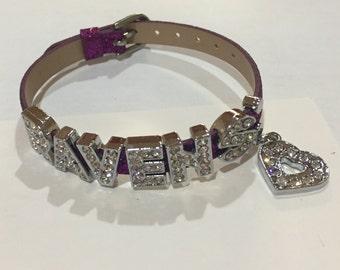 Ravens glitter bracelet with dangle heart