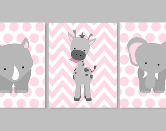 Zoo Nursery Decor, Elephant Nursery, Pink and Gray, Baby Room Decor, Giraffe, Polka Dots, Rhino, Jungle, Safari, Choose your Colors, Chevron