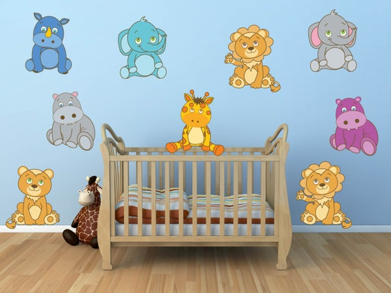 Jungle Wall Decor For Nursery : Jungle animal wall decals safari nursery decor