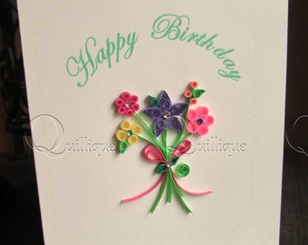 Birthday Card / Paper Quilled Birthday Card / Quilled Flowers / Quilled Bouquet / Bouquet of Flowers / Paper Quilling-BIRTHDAY