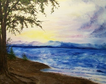 Sunset by the Lake Painting; Landscape Art, Original Oil Painting 16in x 20in