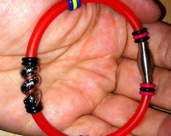 Luminous Cherry Rubber Bracelets with Assorted Sliders and Clasps - Cyber Goth Techno Futuristic