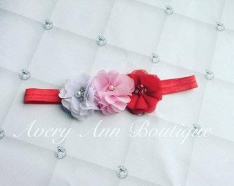 Valentines Day Headband, Flower Headband, Baby Headband, Shabby Chic Headband, Red Headband, Pink Headband, Newborn Headband