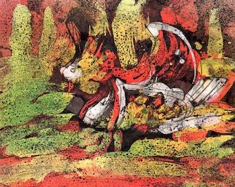 MANDARIN DUCK - Original Wax Encaustic - Bird Painting - ElizabethAFox - Nature Painting - Bird Series 1