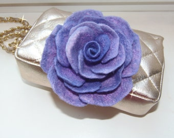 Felt rose brooch, Purpl rose, lilac felted rose pin, felted flower brooch, rose corsage