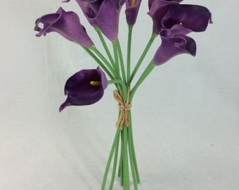 Real Touch Calla Lily Bunch - AUBERGINE