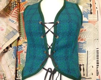Vintage Welsh woollens tapestry wool waistcoat green & blue