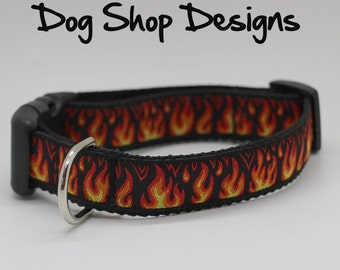 Hot Rod Flames Quick Release Dog Collar
