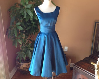 Teal bridesmaid dress - Circle dress, 50s dress, vintage inspired