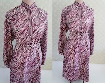 Mod style zebra print vintage dress. Aubergine zebra print dress. Vintage 70s. Light vintage dress.
