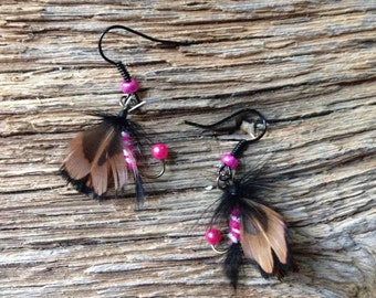 Pink, black, and white fly fishing earrings: pink fly earrings