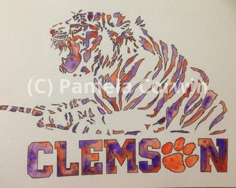 "Clemson Tigers original watercolor and pen painting: 8.25x11"" Clemson purple and orange watercolor art"