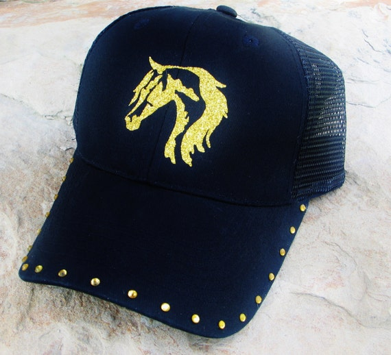 Black Trucker Cap, Gold Horse Head Design, Ball Cap, Horse Gift, Womens Cap, Cowgirl, Western