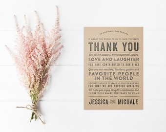 Rustic Typography Wedding Reception Thank You Card - DIY Printable Digital File - Kraft and Burlap Rustic Thank You Place Card