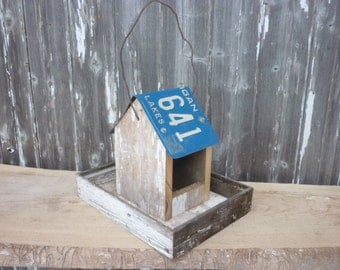 Reclaimed Rustic Barn Wood Bird Feeder with License Plate Roof  Made to order