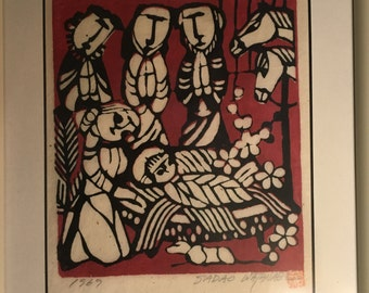 "Sadao Watanabe Signed and Dated Print ""Nativity"" (1967)"