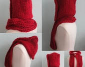 Hoodie Cowl, Knitted Hat, Winter Hat, Knitting Pattern in Super Bulky Yarn