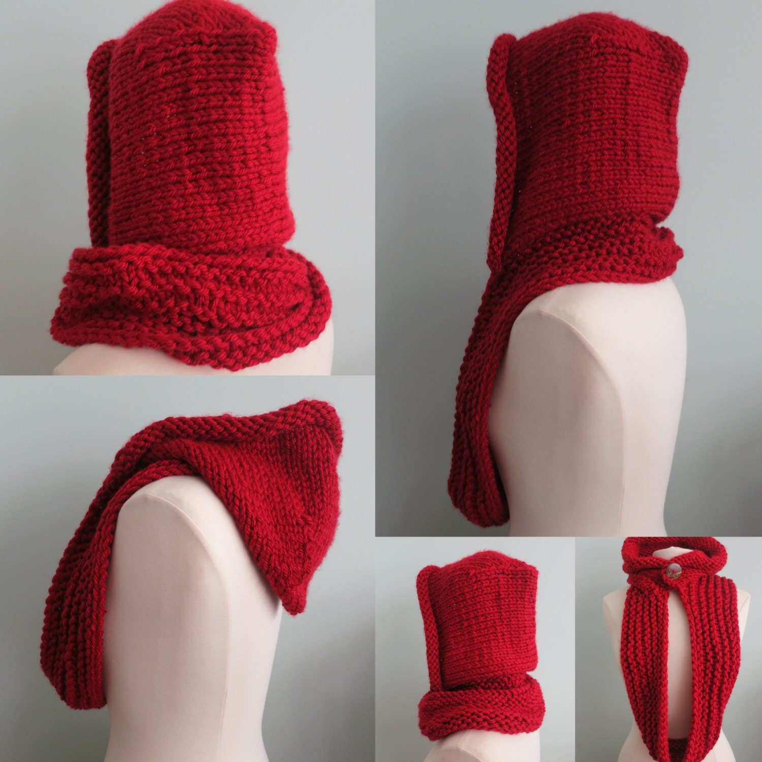 Hoodie Cowl, Knitted Hat, Winter Hat, Knitting Pattern in Super Bulky Yarn fr...