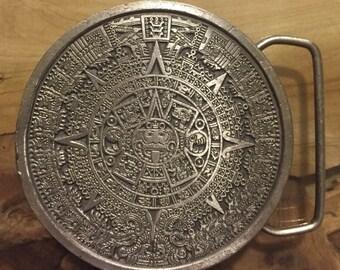 Mayan Aztec Calendar Belt Buckle