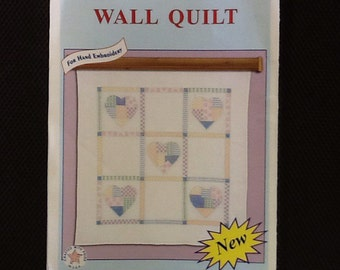 Patchwork hearts wall quilt cross stitch design