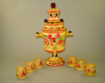 Vintage Old  Russian Soviet Wooden Hand painted Samovar with 6 cups -  Souvenir Teapot Figurine